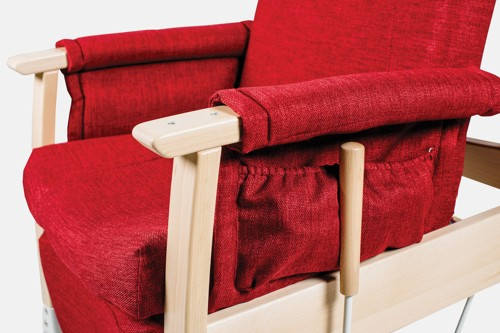Upholstered armrests with storage pocket